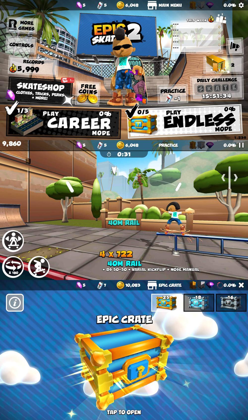 特技滑板游戏 史诗滑板2